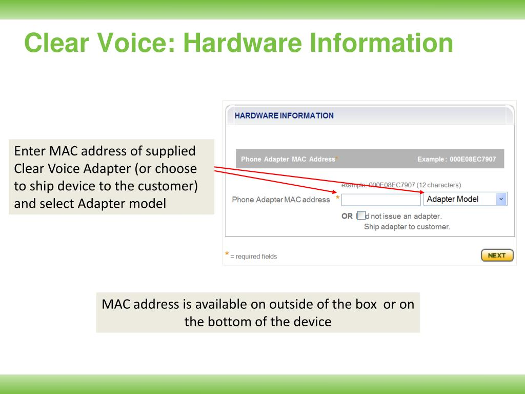 Clear Voice: Hardware Information