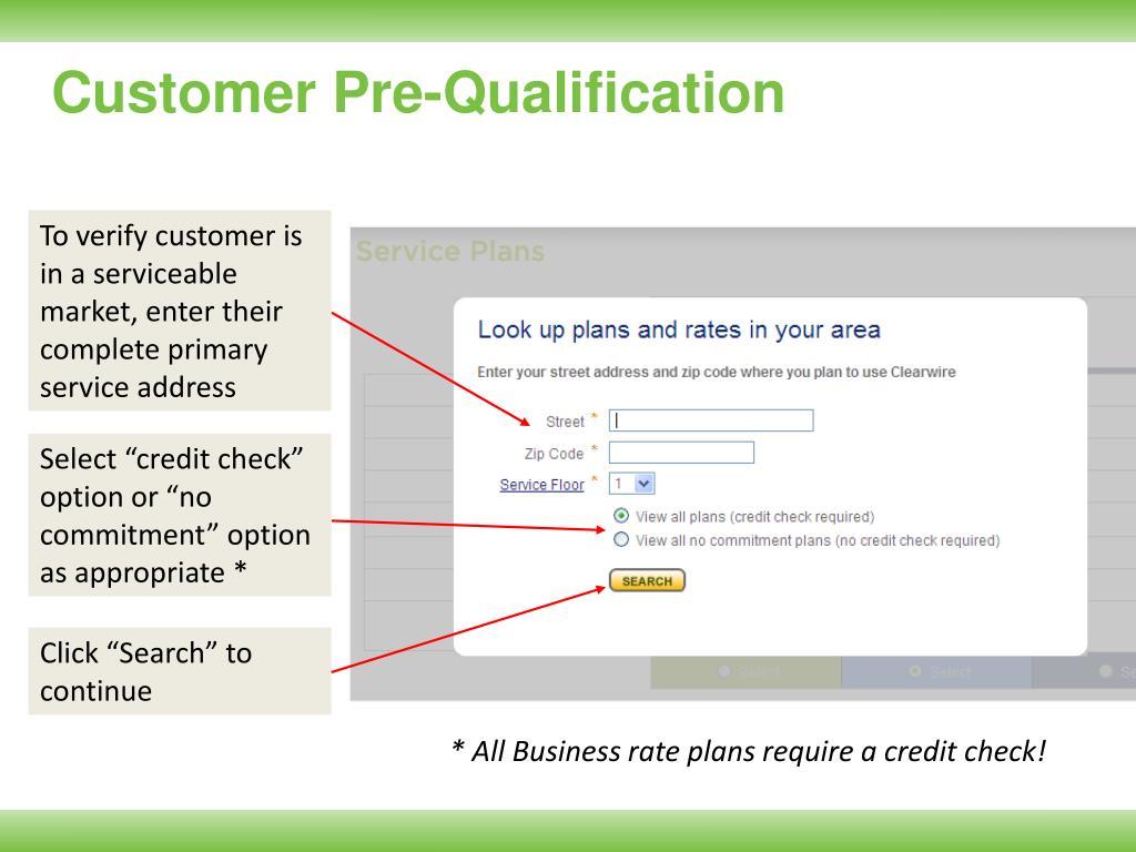 Customer Pre-Qualification
