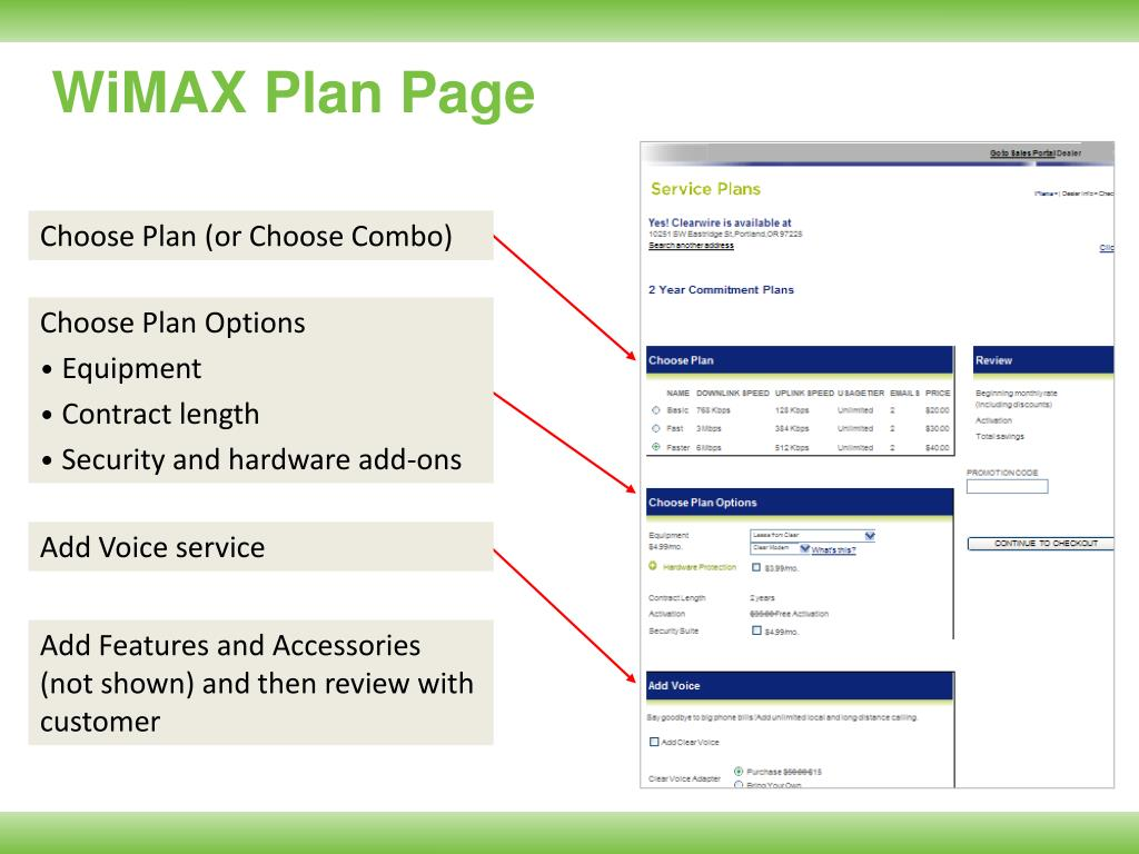 WiMAX Plan Page
