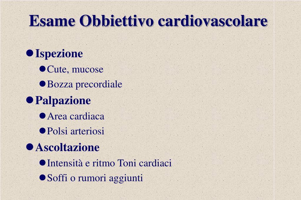 Esame Obbiettivo cardiovascolare