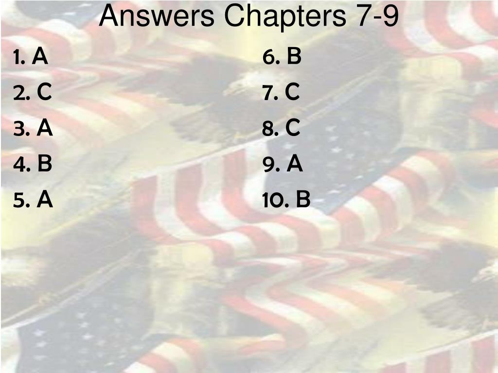 Answers Chapters 7-9