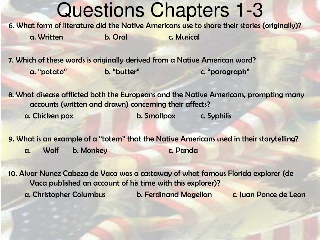 Questions Chapters 1-3