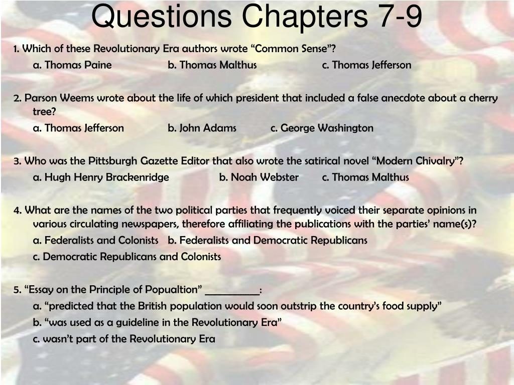 Questions Chapters 7-9