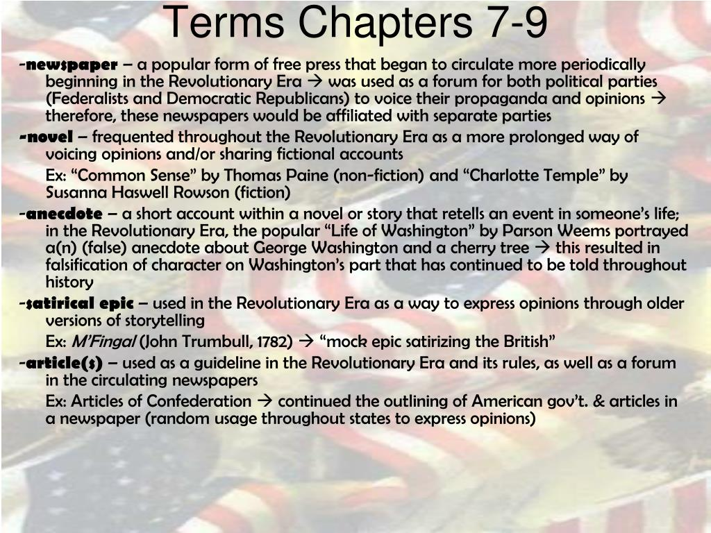 Terms Chapters 7-9