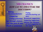 mechanics how can we structure the discussion