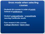 errors made when selecting courses