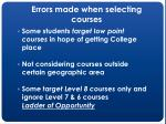 errors made when selecting courses25