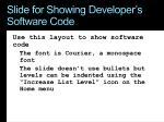 slide for showing developer s software code