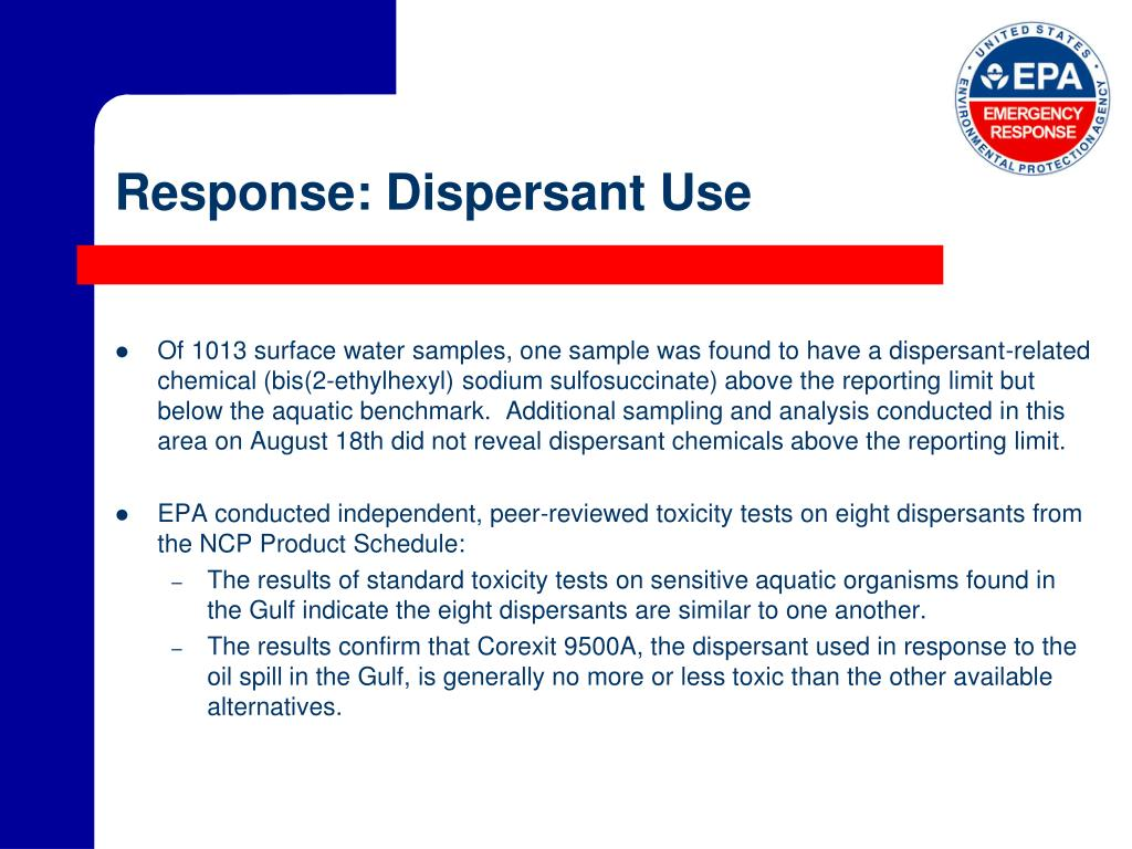 Response: Dispersant Use