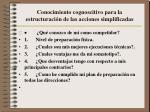 conocimiento cognoscitivo para la estructuraci n de las acciones simplificadas
