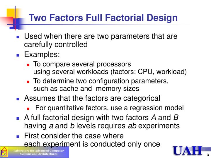 Two factors full factorial design