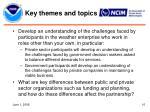 key themes and topics