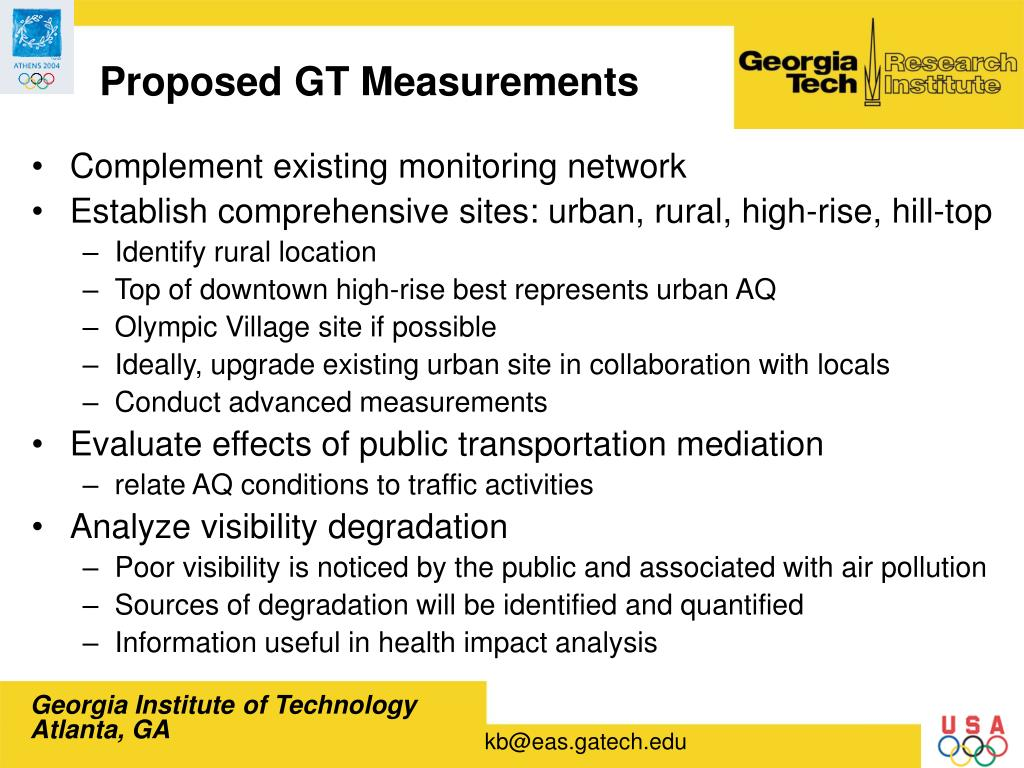 Proposed GT Measurements