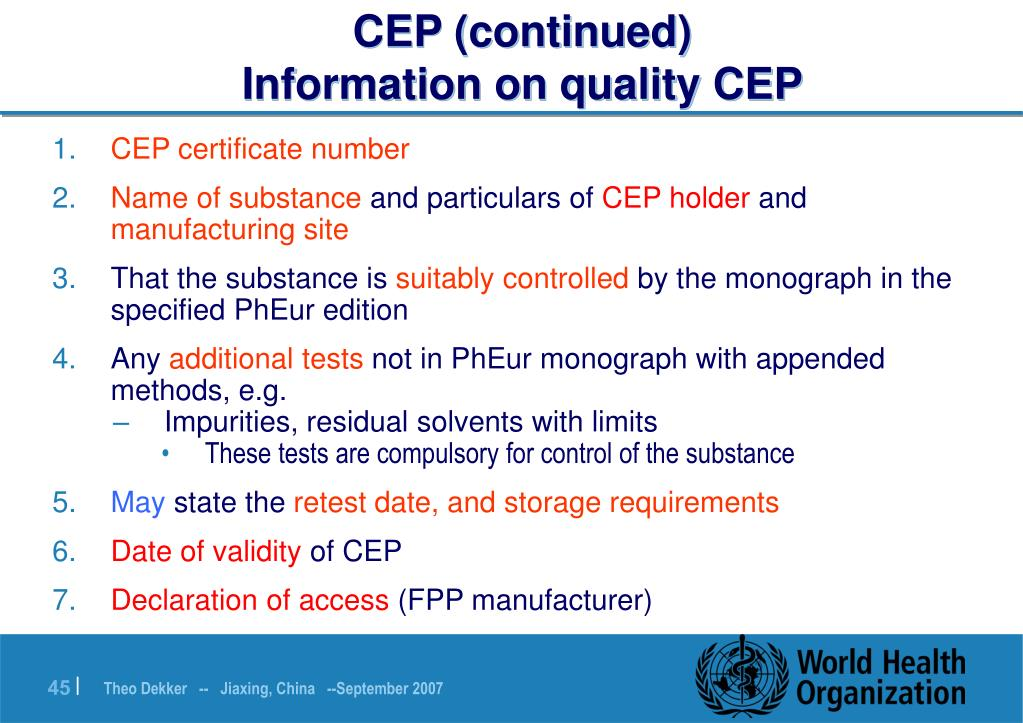 CEP (continued)