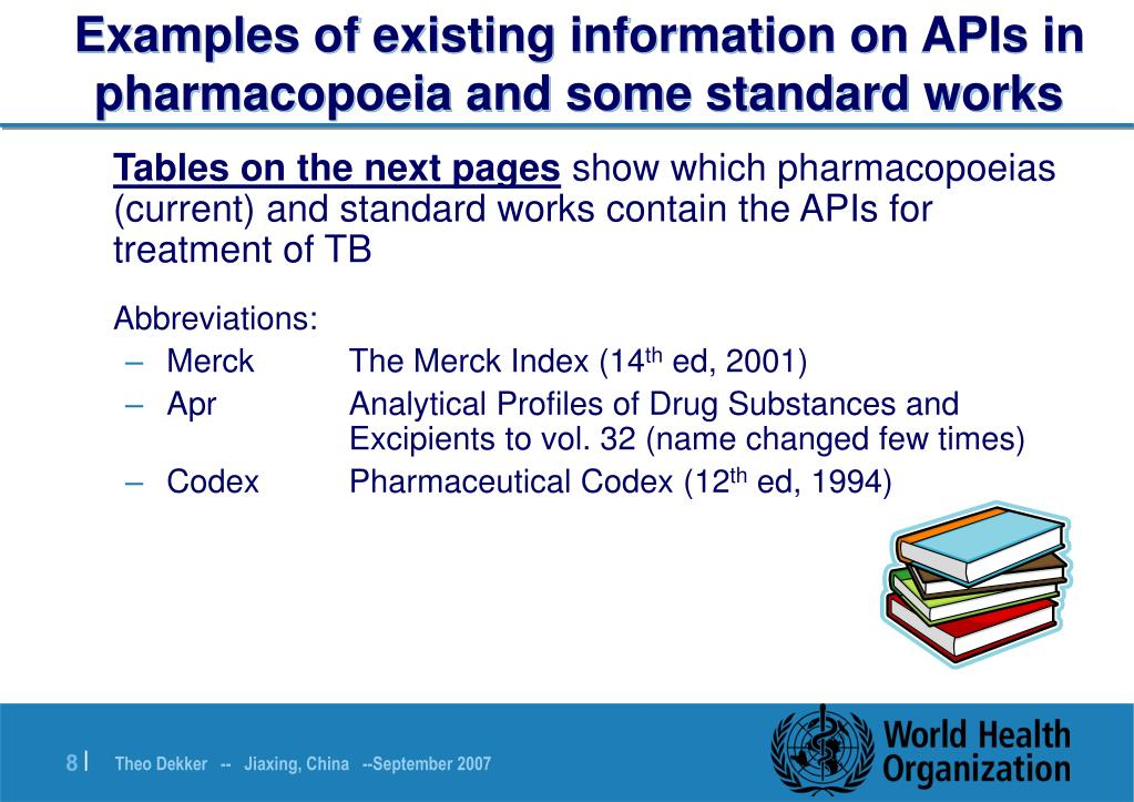 Examples of existing information on APIs in pharmacopoeia and some standard works