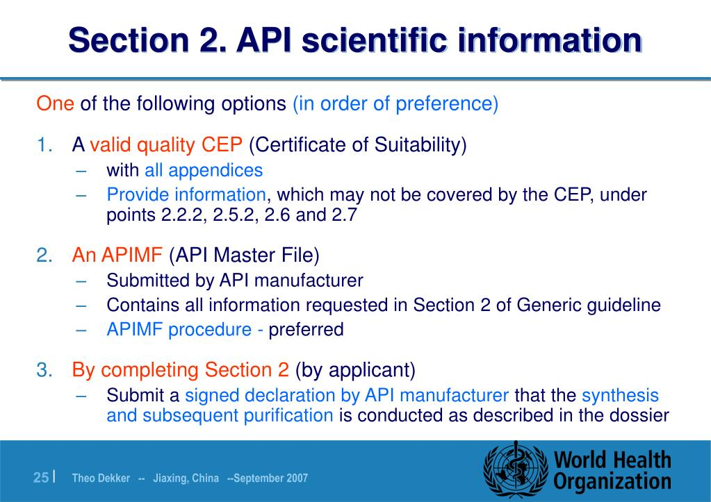 Section 2. API scientific information