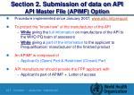 section 2 submission of data on api api master file apimf option