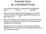 example story for a business plan