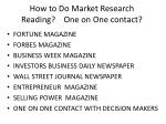 how to do market research reading one on one contact