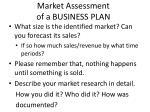 market assessment of a business plan