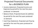 projected financial documents for a business plan