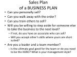 sales plan of a business plan