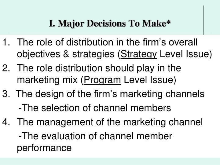 I. Major Decisions To Make*