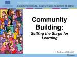 community building setting the stage for learning