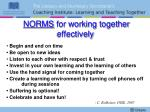 norms for working together effectively