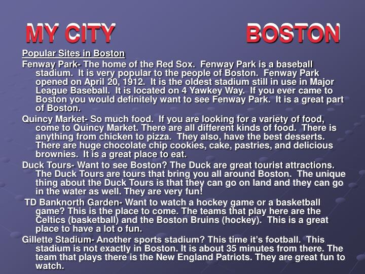 MY CITY                     BOSTON