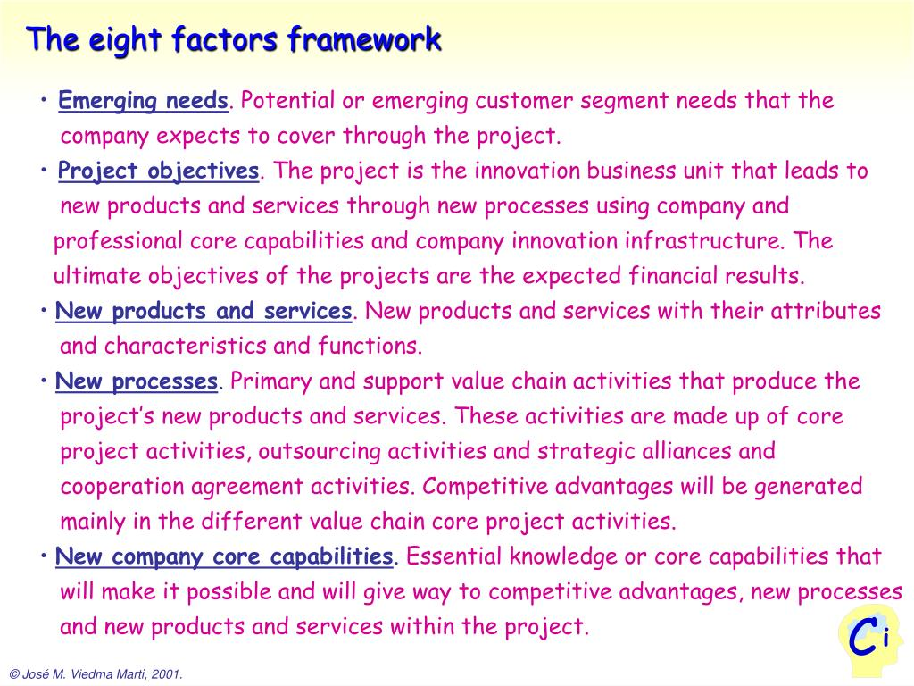 The eight factors framework