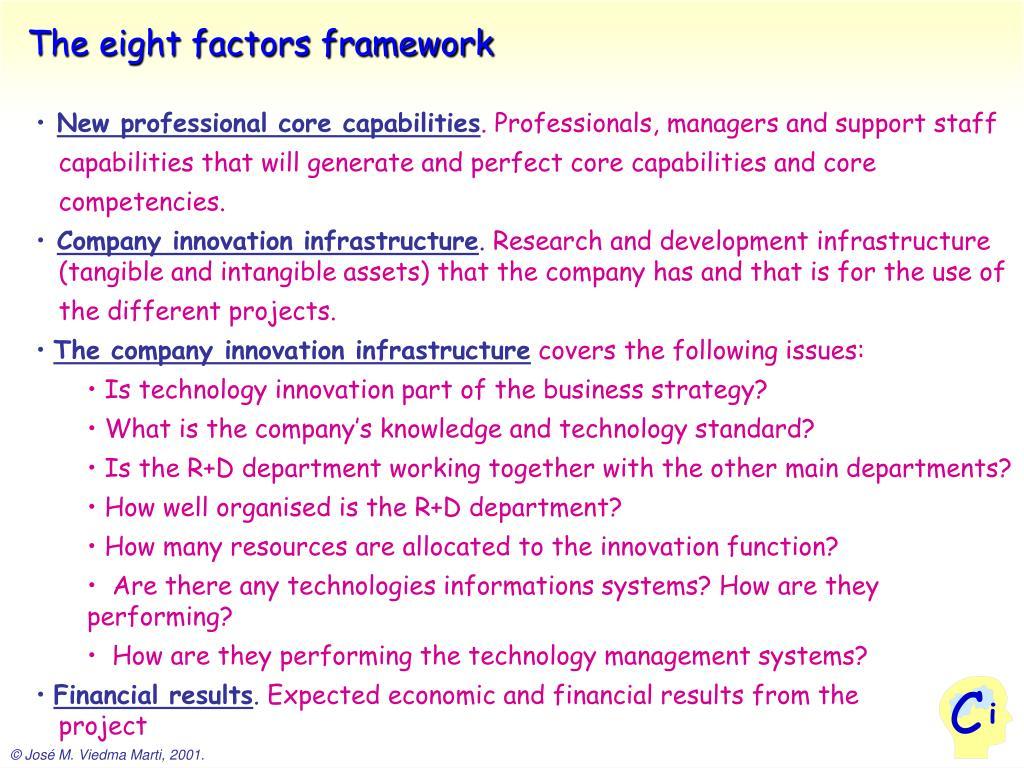 The eight factors framework