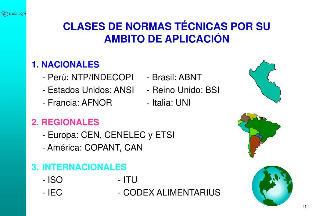 CLASES DE NORMAS TÉCNICAS POR SU AMBITO DE APLICACIÓN