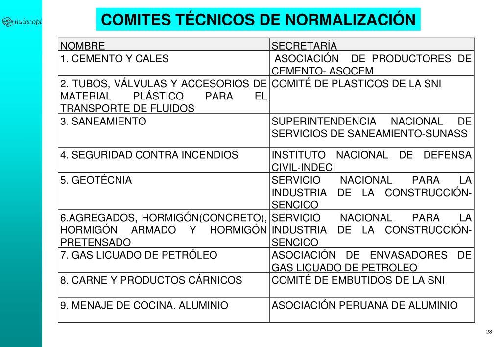 COMITES TÉCNICOS DE NORMALIZACIÓN