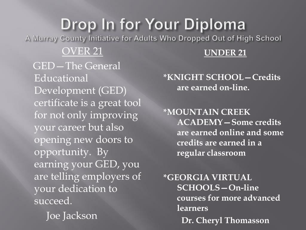 Drop In for Your Diploma