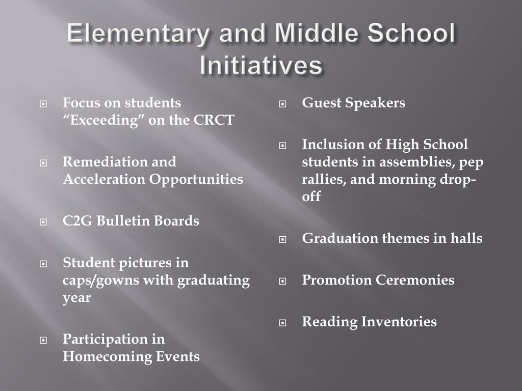 Elementary and Middle School Initiatives