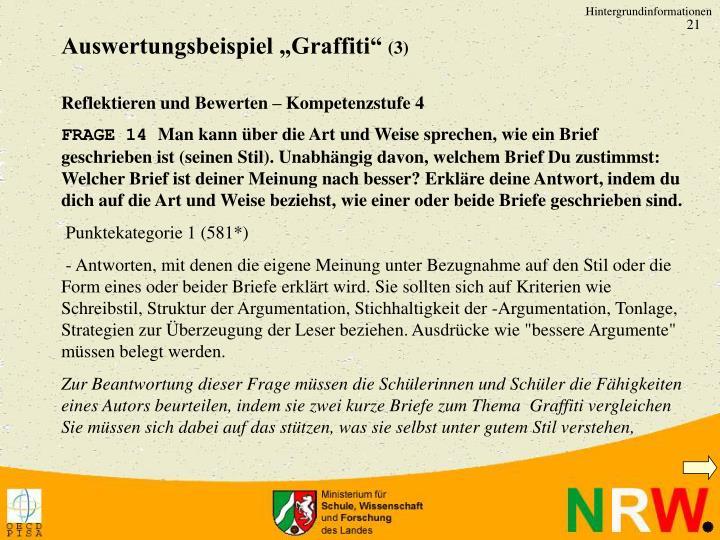 """Auswertungsbeispiel """"Graffiti"""""""