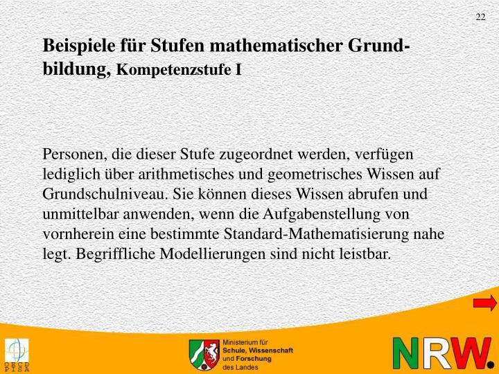 Beispiele für Stufen mathematischer Grund-bildung,