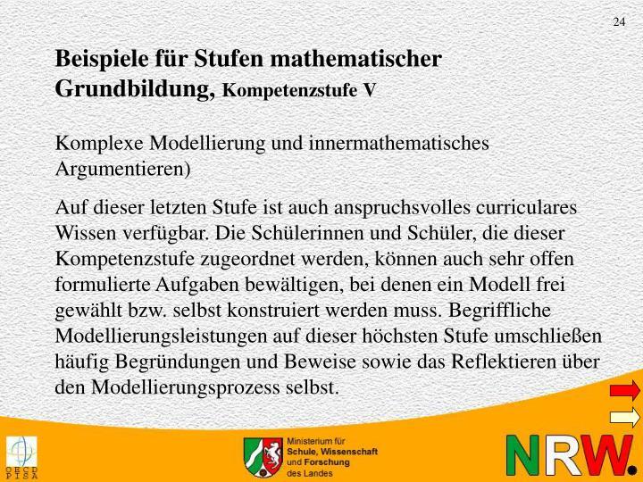 Beispiele für Stufen mathematischer Grundbildung,