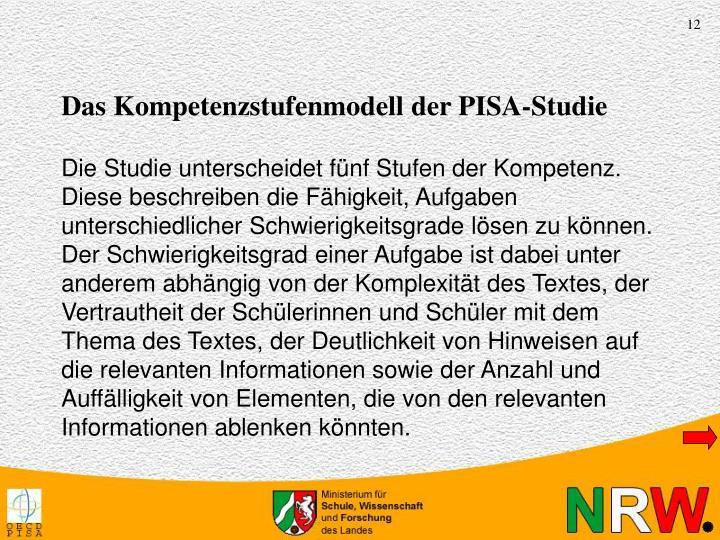 Das Kompetenzstufenmodell der PISA-Studie