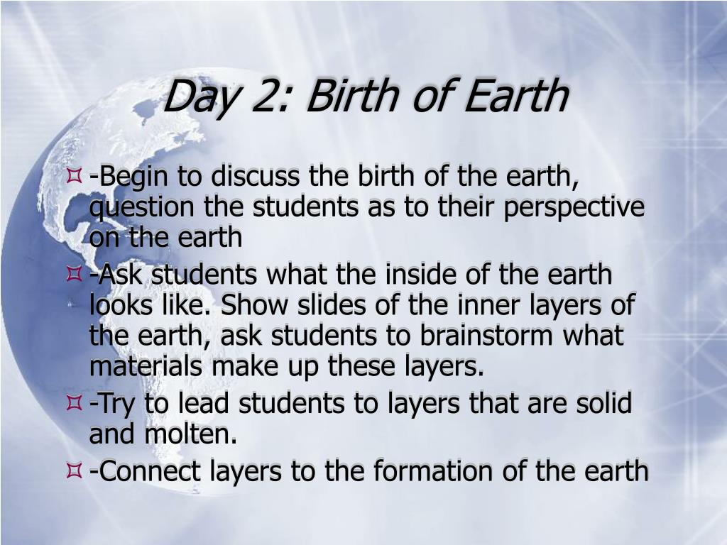 Day 2: Birth of Earth