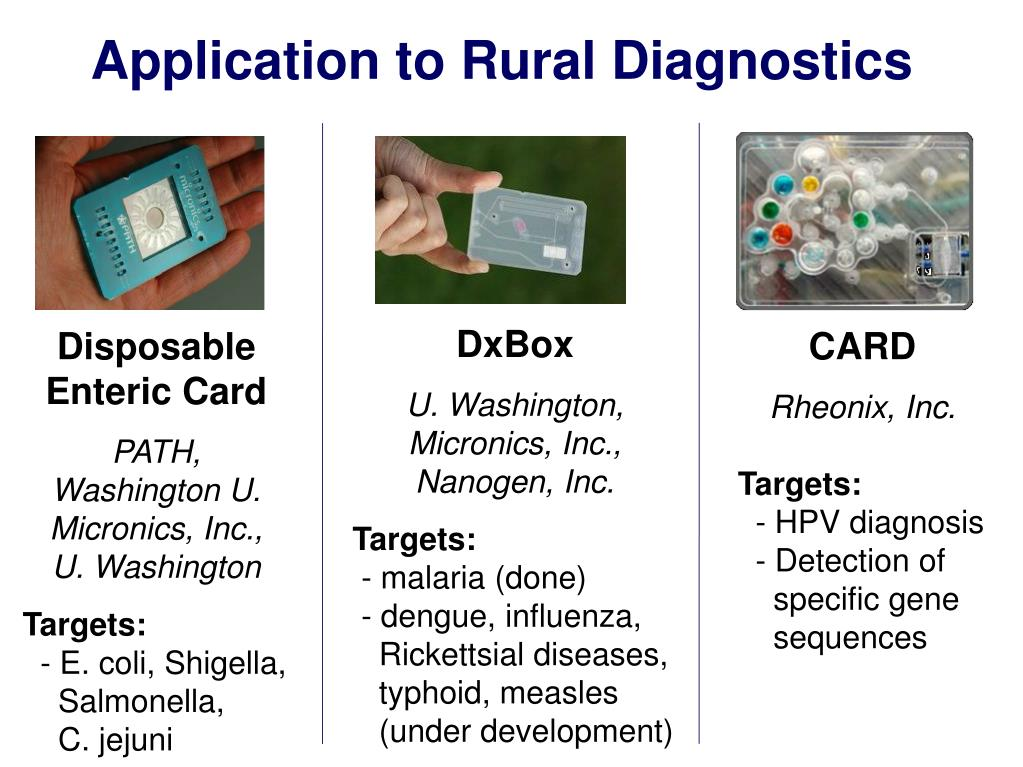 Application to Rural Diagnostics