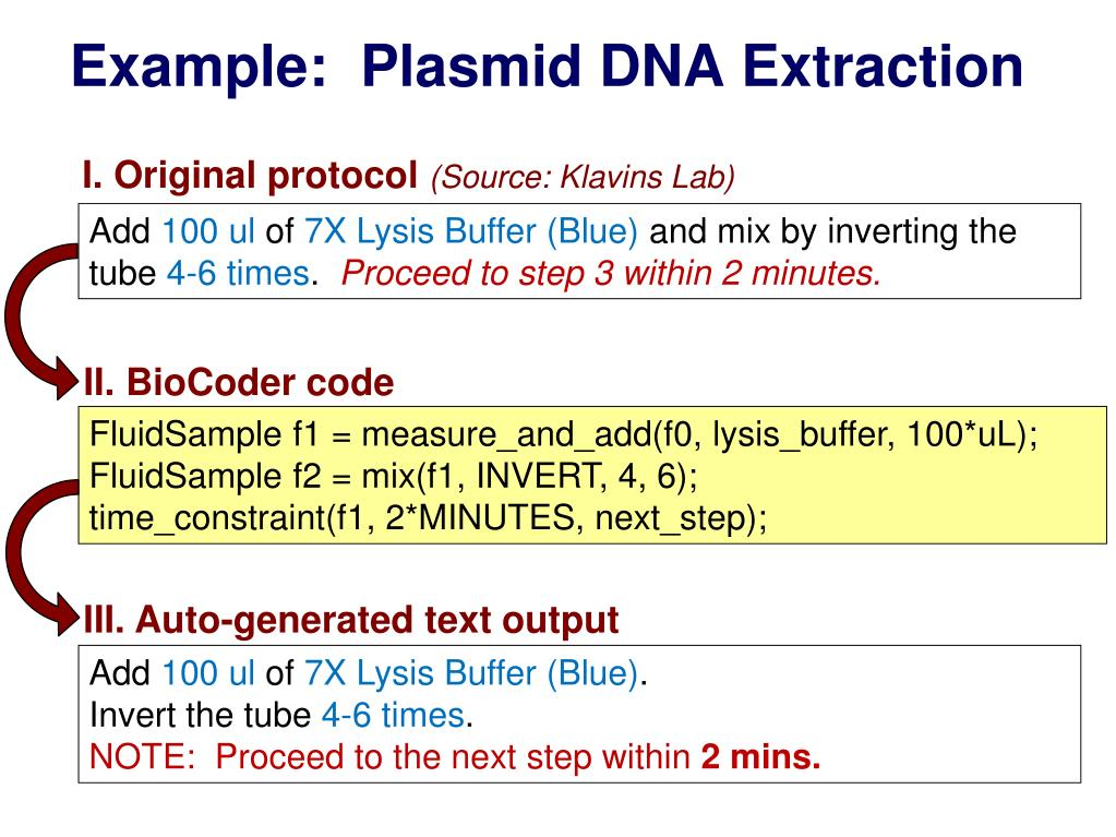 Example:  Plasmid DNA Extraction
