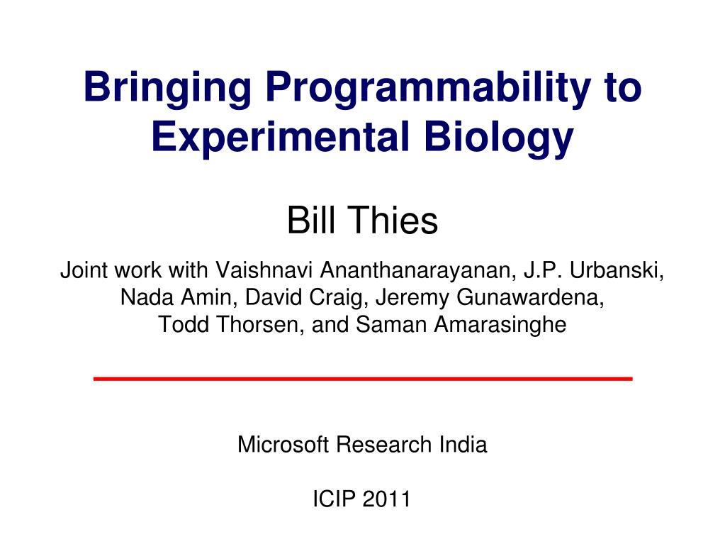 Bringing Programmability to