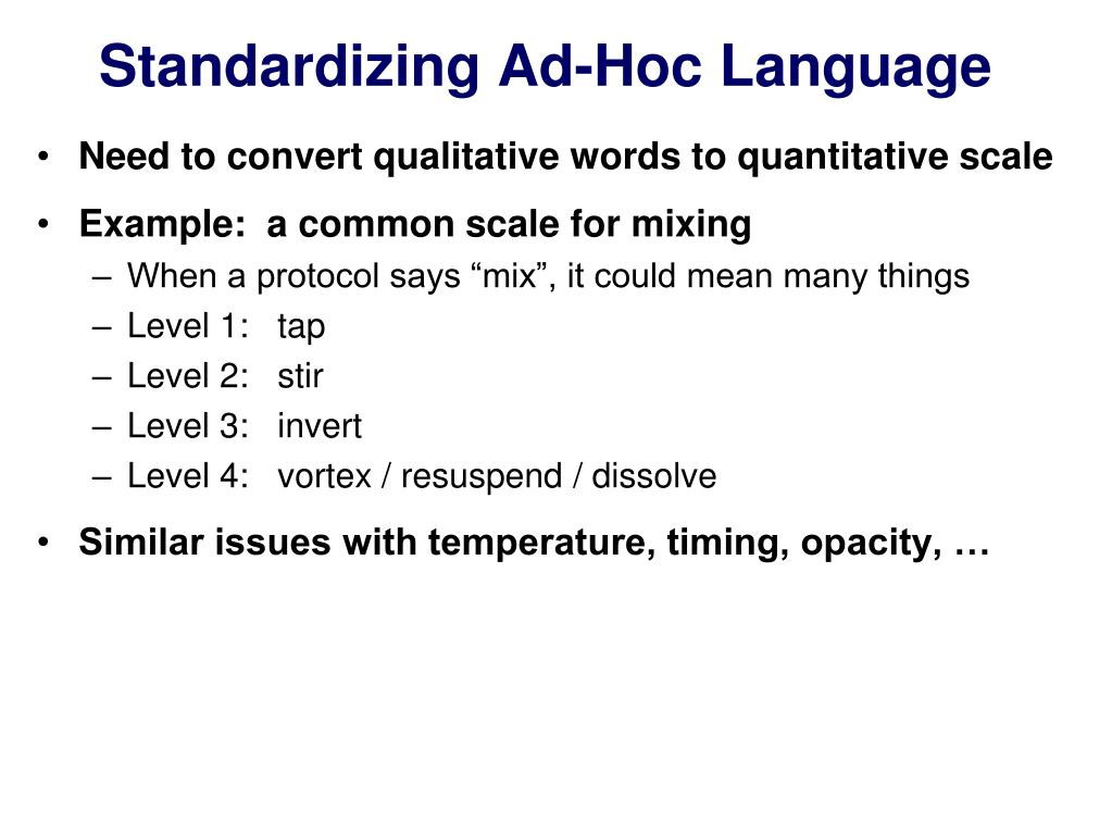 Standardizing Ad-Hoc Language