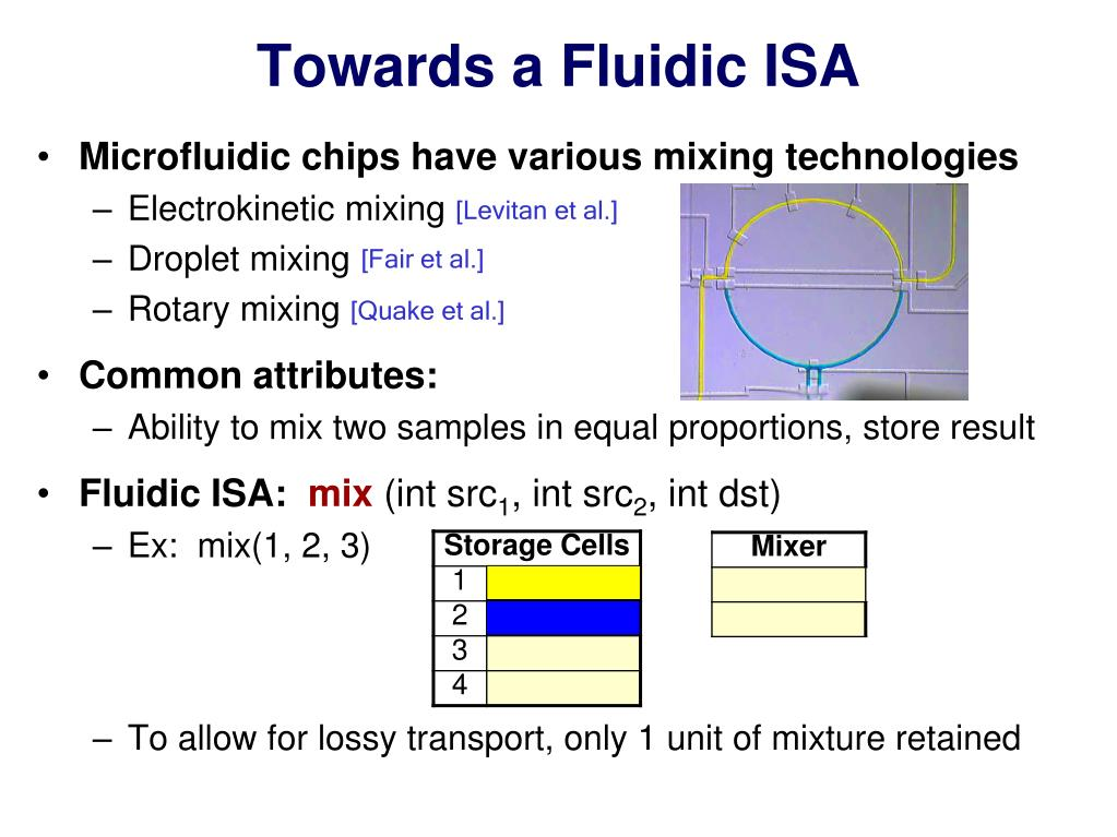 Towards a Fluidic ISA