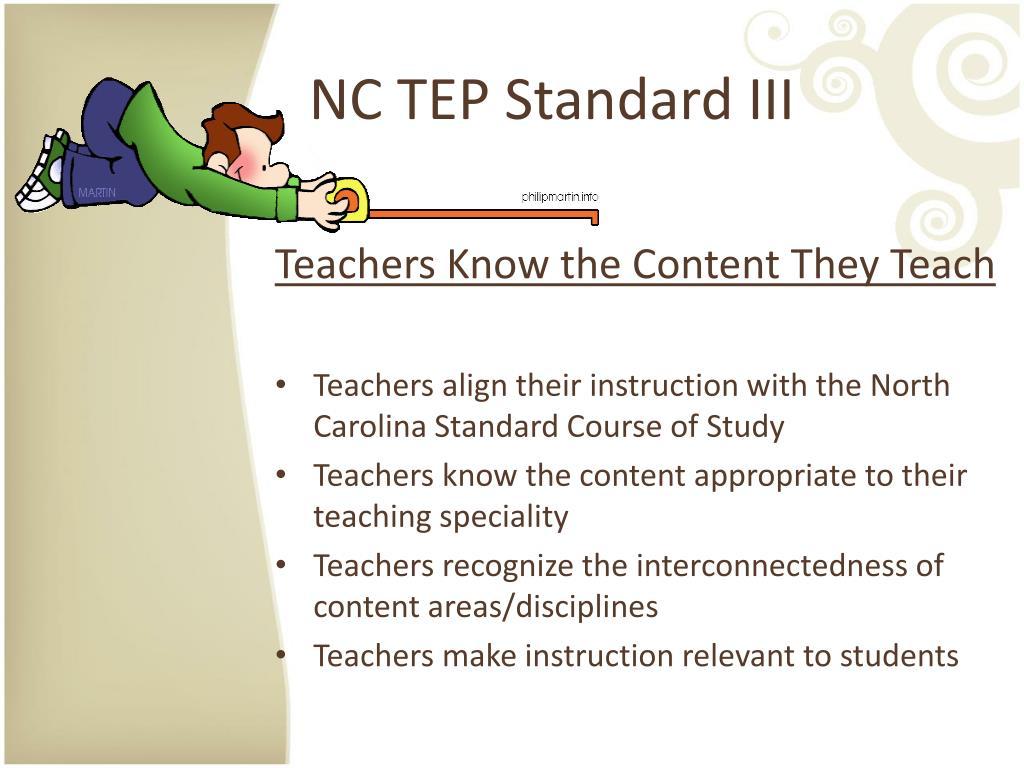 NC TEP Standard III