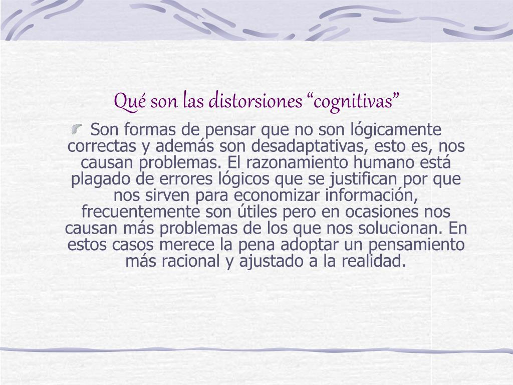 """Qué son las distorsiones """"cognitivas"""""""