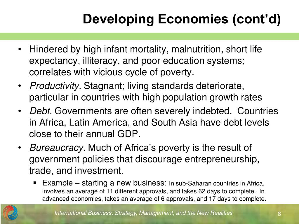 Developing Economies (cont'd)