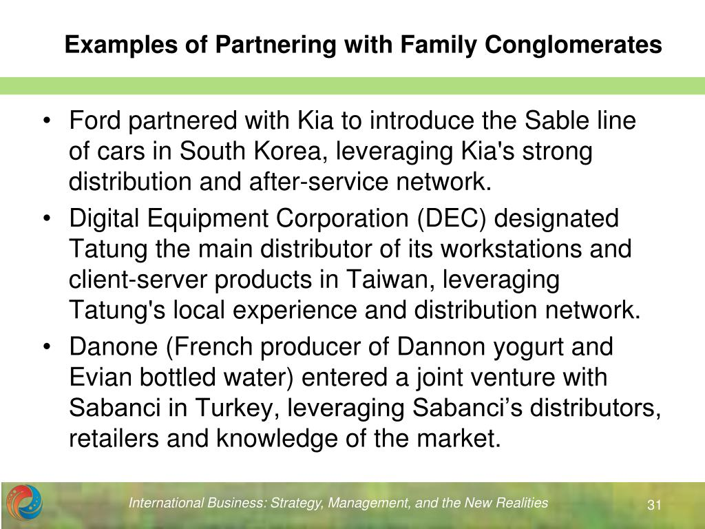 Examples of Partnering with Family Conglomerates
